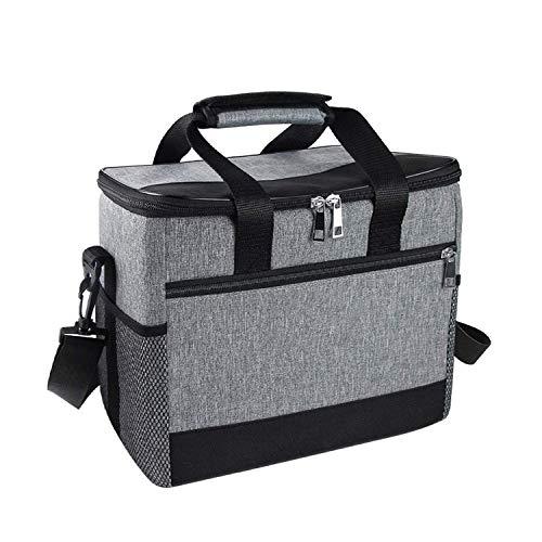 ZKSM Sac Isotherme 15L Lunch Bag, Sac-Glacière Cooler Bag Sac de Repas pour Le Transport des Aliments, Bureau, Camping, Plage, Voiture, Plein air, Voyage (Gris)