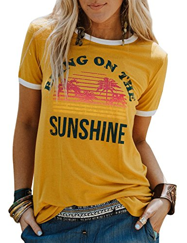 Dresswel Damen Bring On The Sunshine T Shirt Kurzarm Rundhals Regenbogen Top T-Shirt Sommer Oberteile Oben Hemd