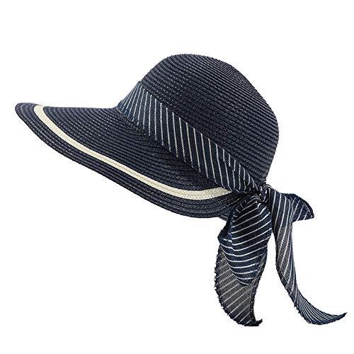 Sqklv Sombrero de paja hecho a mano para mujer, chica, lazo,