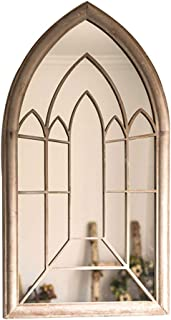 French Metal Arched Cathedral Window Frame Distressed Finish Wall Décor Mirror Gothic Farmhouse Vintage Floor Mirror, 24x44 Inch