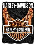 Harley-Davidson Orange Wings Royal Plush Raschel Throw, 60 x 80 inch NW488786