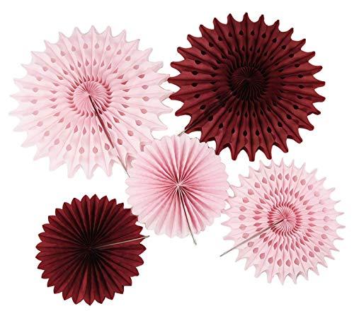 Burgundy Pink Birthday Party Decorations 7pcs Burgundy Cream Pink Pinwheels Tissue Paper Fans Fall Bachelorette Party Decorations/Burgundy Wedding/Bridal Shower Decorations