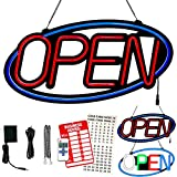 LED Neon Open Sign for Business 24x12In Large Size Blue Oval Frame Red Letters 10 Flashing Modes with FR Wireless Remote Super Bright by Wetocke