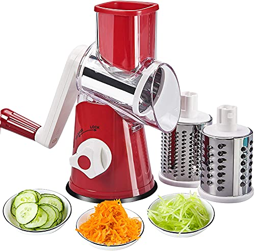 Manual Rotary Cheese Grater, 3-in-1 Round Mandoline Slicer with Interchangeable Stainless Steel Drum Blades Vegetable Slicer Nuts Grinder Cheese Shredder with Suction Cup Base