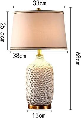 Lu- Chinois Motif Moderne Minimaliste Ananas en céramique Lampe de Table, Lampe de Chevet Chambre, Salon Blanc Chambre Lampe décorative