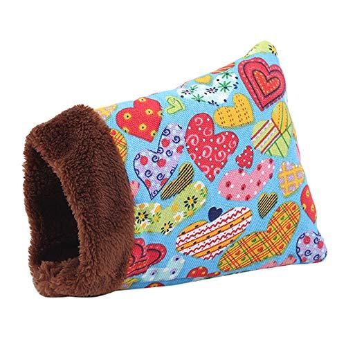 unknow Meitanyuan - Saco de dormir cálido para mascotas pequeñas y acogedoras colchoneta para hámster, ardilla, erizo, conejo, cerdo, accesorio para nido de invierno, diseño de corazón, grande