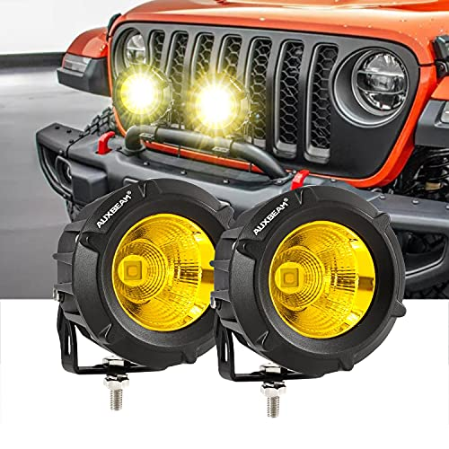 Auxbeam Round Driving Light Pod 3.5 Inch, Off Road LED Light 2Pcs, Yellow Spot Flood Combo with 5050 LED Chips for Jeep Vehicle Truck ATV SUV Motorcycle