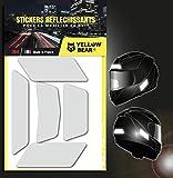 Yellow Bear© Classic 5 White - Juego de 5 pegatinas reflectantes 3M ScotchliteTM Material, color blanco, para casco de moto, tallas homologadas