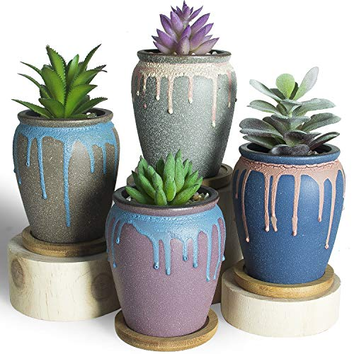ARTKETTY 3.5 Inch Succulent Plant Pots, Small Ceramic Cactus Flower Planter Pots with Bamboo Tray Modern Glazed Bonsai Planter Container for Indoor/Outdoor Plants Pack of 4