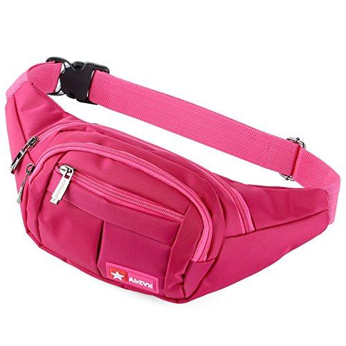 AirZyx Riñoneras de Marcha Running de Acampada y Marcha Bolsos de Gimnasio Bolsos Bandolera para Hombre Mujer (Rosa Roja)