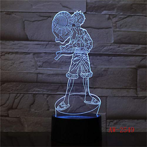 Anime Lights 3D Led,3D LED Touch Switch Night Light Anime One Piece Luffy Lámpara de Mesa USB 7 Colores Atmospheres Decor, LED Lighting AW 2549 LED Night Lights