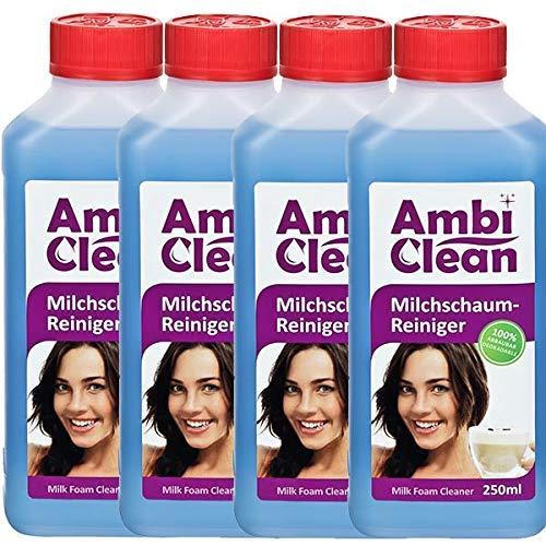 AmbiClean® Milchschaum-Reiniger für Kaffeevollautomat und Kaffeemaschine - 250 ml = 8 Liter Reinigungslösung- Flüssig-Reiniger für Milchaufschäumer oder Sahnespender - 4x250ml = 1 Liter Konzentrat erg