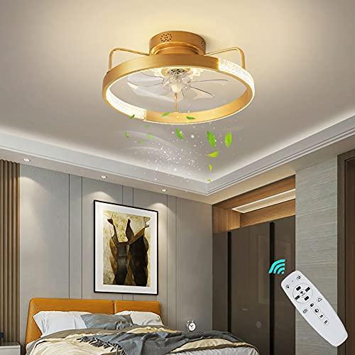 Ventilador de Techo con Luz LED Lámpara de Techo con ventilador Silencioso Regulable con Control Remoto Plafon de Techo de Cristal Luz Del Ventilador para dormitorio salón