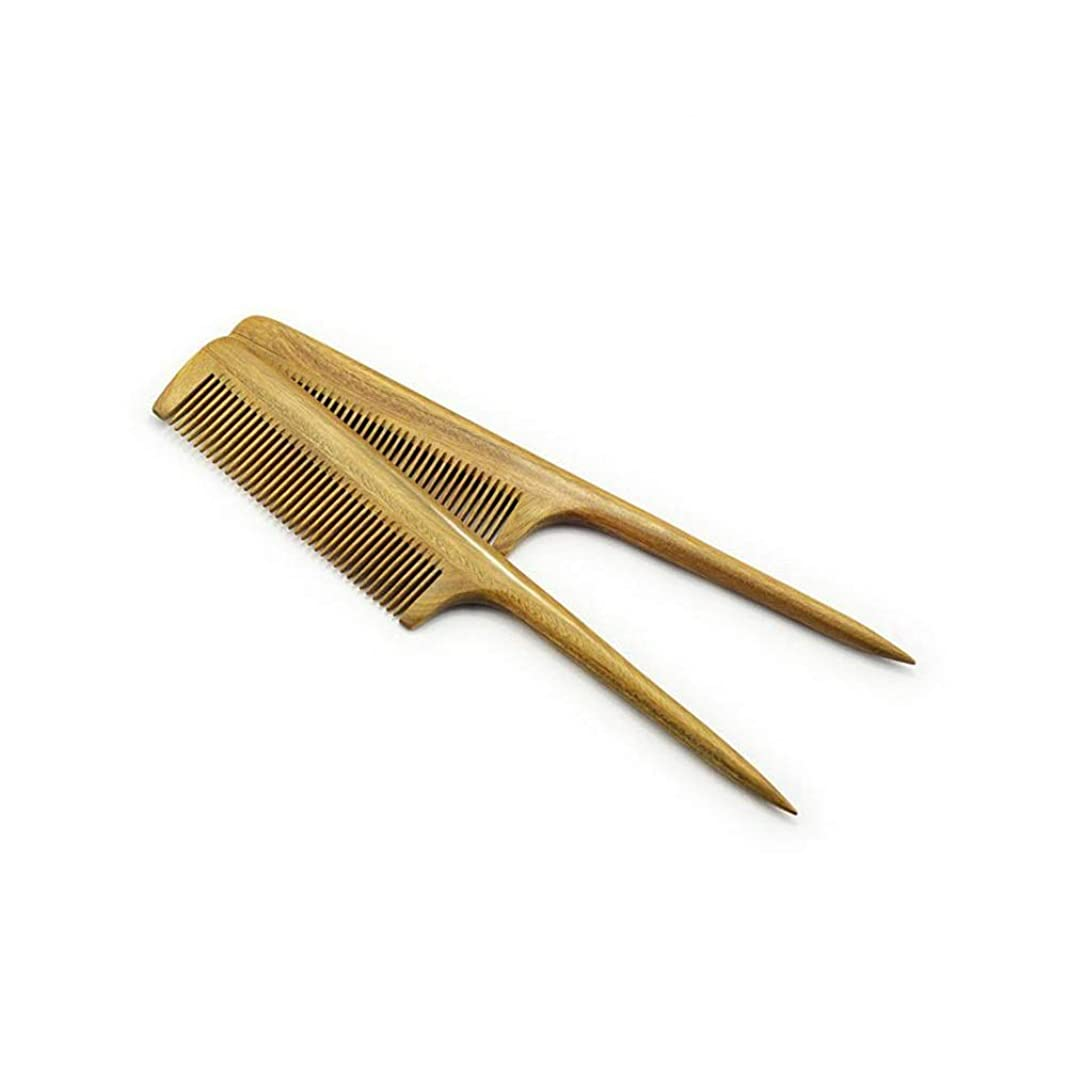 恥ずかしさ繁栄CAFUTY 髪の櫛 - 細かい歯のもつれを解く木製の尾の櫛 - いいえ静的な天然サンダルウッドの櫛