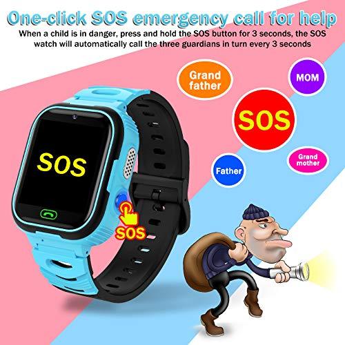 Kinder SmartWatch Phone Smart Watch mit Wasserdicht IP67 LBS SOS Voice Chat Kamera Armbanduhr für Jungen Mädchen Student Geschenk (Blau)