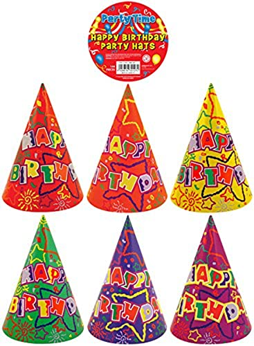 144 x Happy Birthday Cone Hats