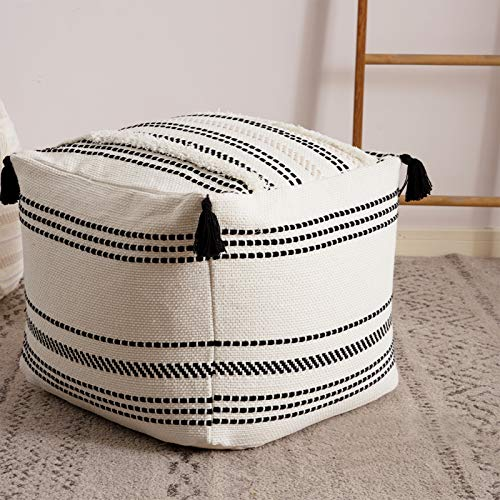 Stripe Morocco Tufted Boho Decorative Unstuffed Pouf - Black Cream Casual Ottoman Pouf Cover with Big Tassels, Neutral Foot Rest/Cushion Cover ONLY...