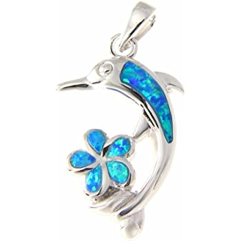 925 Sterling silver Hawaiian dolphin plumeria flower blue synthetic opal pendant