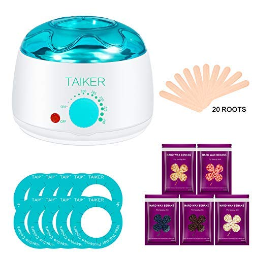 Wax Warmer Hair Removal Kit for Women Waxing Kit Electric Pot Heater for Full Body Hairs with 5 Wax Beans and 20 Wax Applicator Sticks and 10 Protective Collars