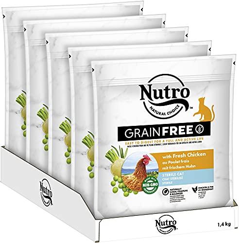 NUTRO GRAINFREE Katzenfutter Trockenfutter Sterile mit Huhn 5x1,4kg