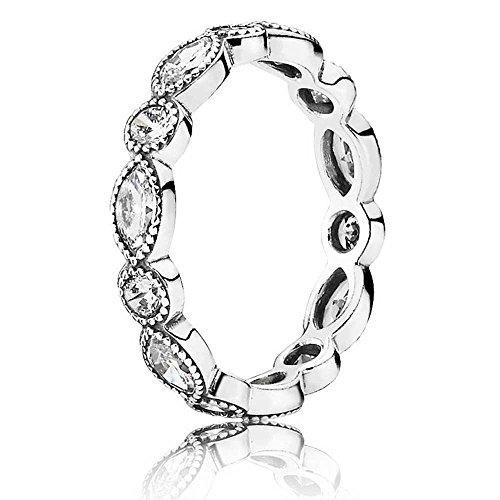 Pandora Damen - 925 Sterling-Silber Silber weiß Oxyde de Zirconium Silber/schwarz