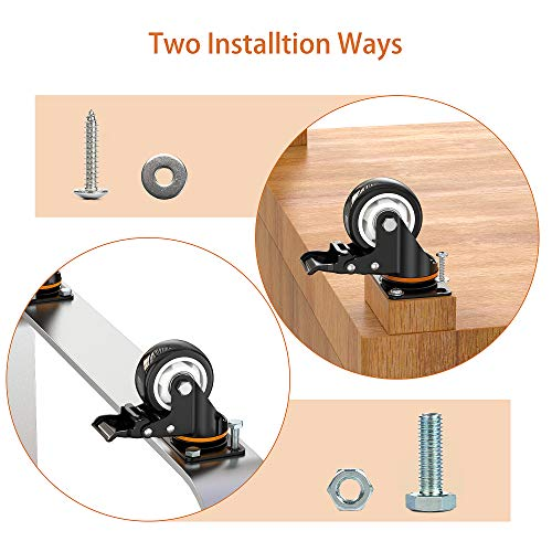 """3"""" Caster Wheels,Set of 4,Heavy Duty Swivel Casters with Brake, Safety Dual Locking and No Noise Polyurethane (PU) Wheels,Swivel Plate Castors(TWO HARDWARE KITS for Free)"""