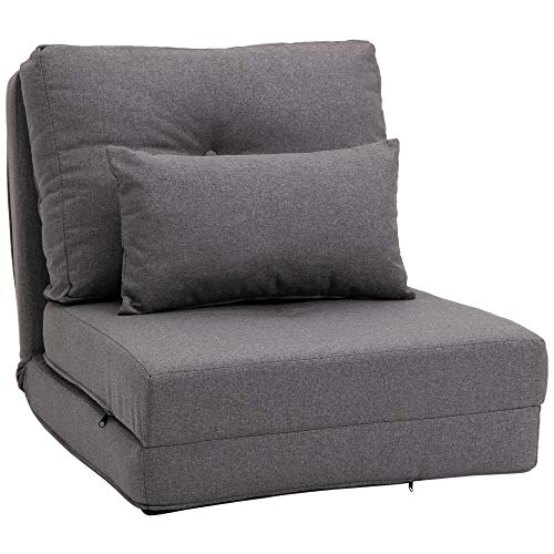 HOMCOM 2-in-1 Floor Lazy Sofa with 7 Position Adjustable Backrest, Thick Padding, Metal Frame and 2 Pillows, Dark Grey