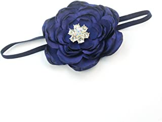 Elastic Kids Baby Headband with Burned Satin Flower Shiny Rhinestone Headwear JA58