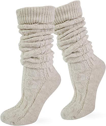 normani Zopfstrumpf elegant mit doppeltem Zopfmuster für Knieb&hosen & Trachtenkleidung Farbe Naturmelange lang Größe 35/38