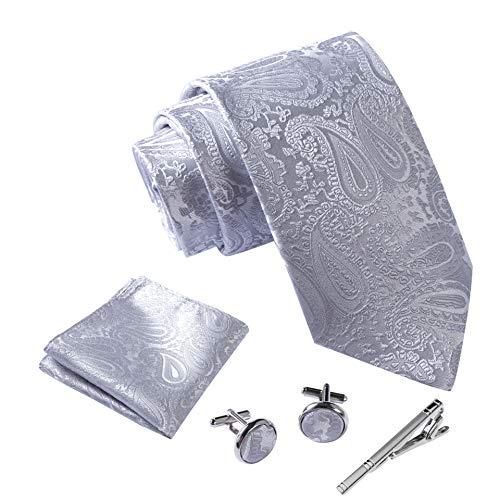 Massi Morino Herren Krawatte Set Herren Krawatte Set mit umfangreicher Geschenkbox grau graue paisley paisleyfarben graufarben paisleymuster grauekrawatte paisleykrawatte grey steingrau