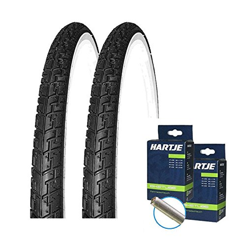 KENDA Set: 2 x K830 schwarz-Weiss Fahrrad Reifen 37-622 + SCHLÄUCHE Autoventil