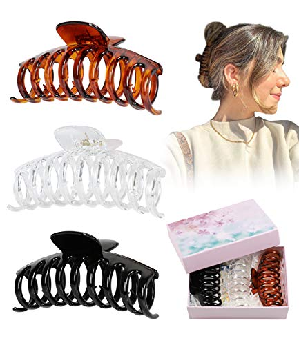 DAYAMY Large Hair Clips for Women, 4.3 Inch Big Plastic Hair Clips Jaw for Girls NonSlip Strong Hold Hair Acessories for Thick Long Hair (Clear Banana Hair Claw Clips)