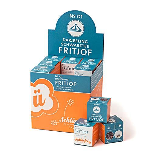 Schlürf Schlürfel Bio Darjeeling Tee   Fritjof No. 1   1 Display mit 27 Teebeutel Würfel   Tee Box   Pyramidenbeutel einzeln verpackt   67,5 g