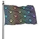 花園旗flagJHWBDA 庭の旗Cute Animal Dog Paw ハロウィン メリークリスマス庭の旗 庭の旗ハッピーハロウィン家の装飾 One Size インチ祭りガーデン両面ハウスフラグOne Size