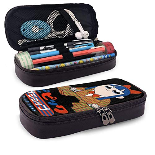 Pop Team Epic - Estuche de piel para lápices de alta capacidad para niños, adolescentes, adultos, bolsa de estudiante, bolsa de papelería, bolsas funcionales con doble cierre para maquillaje,