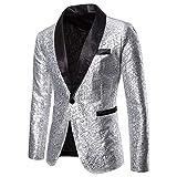 Tefamore Trajes Hombre Chaquetas Americanas Charm Casual Un Botón Fit Suit Traje Blazer Abrigo Abrigo de Fiesta de Lentejuelas Chaqueta (Plata 01, L)