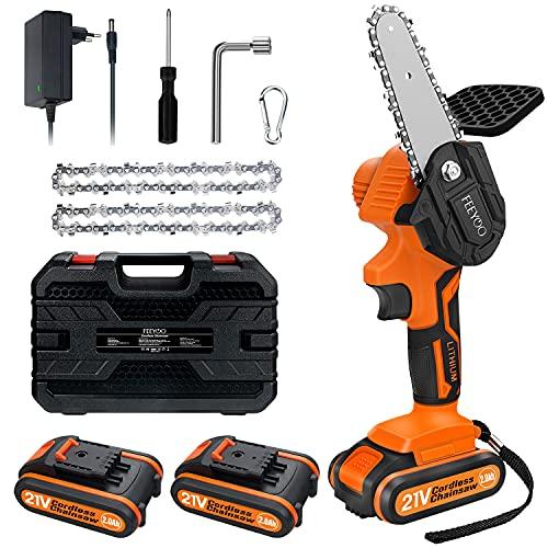 Mini tronçonneuse électrique sans fil 4 pouces, avec chargeur et 2 piles 21V, scies portables Vitesse de coupe réglable pour la coupe du bois, l'élagage des arbres et le jardin (orange)