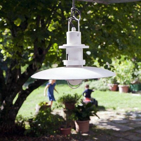 POLO - Suspension d'extérieur Blanc Ø48cm - Luminaire d'extérieur Martinelli Luce designé par Elio Martinelli