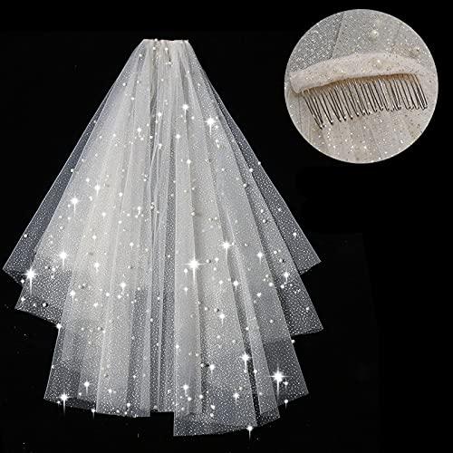 Hwjmy Cabeza de perla, novia, cabeza de boda, búsqueda, doble, corto, hembra, cabeza de boda, accesorio (color: spray oro plus perlas, tamaño: 60 cm 80 cm)