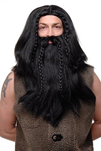 WIG ME UP- RJ033-P103 Peluca Larga con Barba Trenzada para Hombres Carnaval Vikingo brbaro Enano Negro