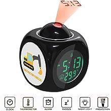 JLHEB Projection Black Alarm Clock Digital LCD Display Voice Talking Table Clocks Temperature Snooze Function Desk Orange Excavator, Construction Vehicles