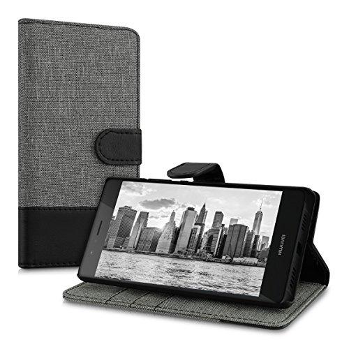 kwmobile Huawei P9 Lite Hülle - Kunstleder Wallet Case für Huawei P9 Lite mit Kartenfächern und Stand - Grau Schwarz - 5