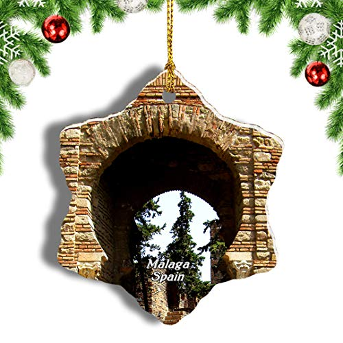 Weekino España Alcazaba Castillo Málaga Decoración de Navidad Árbol de Navidad Adorno Colgante Ciudad Viaje Porcelana Colección de Recuerdos 3 Pulgadas