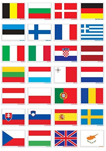 G&S selbsthaftende Mini-Flagge Aufkleber Dekoration Fanartikel Übersicht Länder der EU