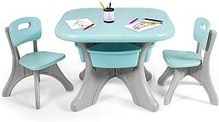 Costway Ensemble Table et Chaises pour Enfant, Inclus 1 Table et 2 Chaises, Matériau Ecologique PE, Forte Capacité de Char...