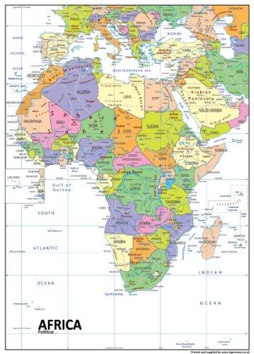 Tiger Moon Riesige A0 Papier laminiert Afrika Politische Karte zum Aufhängen an der Wand / Präsentation auf dem Schreibtisch