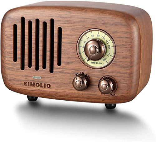SIMOLIO Portable Vintage Bluetooth Speakers with Powerful 9W Stereo Sound, Retro Black Walnut Wood CSR Bluetooth Speaker with FM Radio and AUX, Nature Wood Speaker with HD Sound and Bass, Gift Ideas