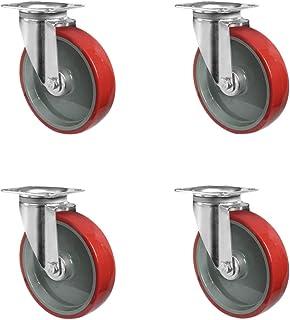CASCOO SETSPSP200N2U6R1W wielenset 4 zwenkwielen, polyamide, polyurethaan, diameter 200 mm, transportwielen, rollagers, dr...