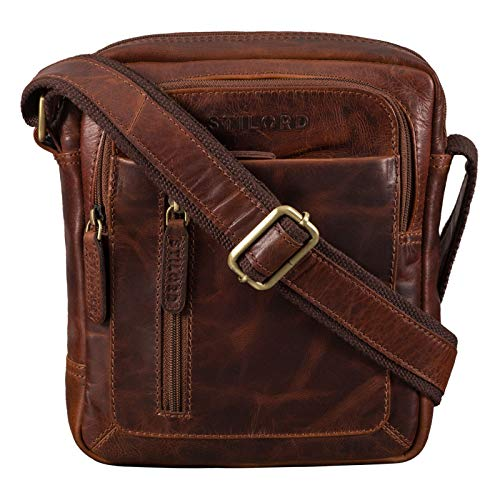 STILORD 'Jamie' Men's Messenger Bag Leather Small Vintage Shoulder Bag Cross Body Cross Over for 9.7 Inch iPad Handbag in Genuine Leather, Colour:Florida - Brown