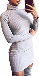 Zyyfly Women High Neck Long Sleeve Ribbed Knit Dresses Stretch Bodycon Sexy Dress